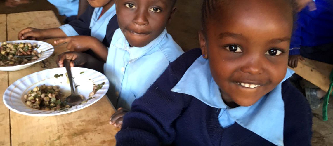 We provide them with porridge twice a day and lunch / We currently have two teachers, two care providers and a watchman