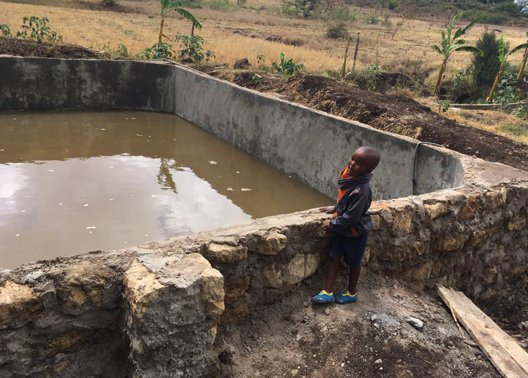 Eudaimonia have built a water reservoir that is 9 meters by 12 meters and approximately 1 meter deep, so we are making sure that we can be able to collect all our runoff water into this reservoir